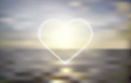 shiny heart: Ocean sunset. Blur background with shiny heart. Vector