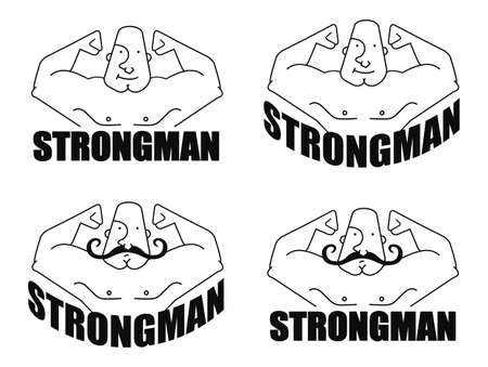 strongman: Strongman linear logo. Vector clip art illustrations isolated on white