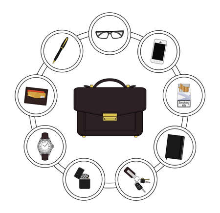 contents: Business handbag contents. Every day carry objects in round frame. Vector clip art illustrations isolated on white
