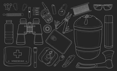 Set of survival camping equipment. Chalk clip art illustrations isolated on blackboard