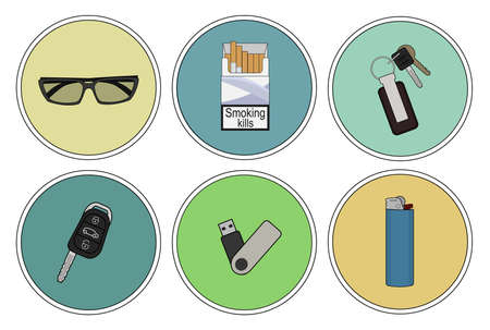 Mens bag contents. Sunglasses, cigarette pack, house and car keys, usb, lighter Ilustração