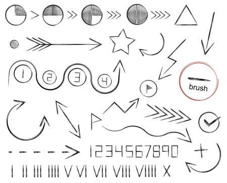 dessin noir et blanc: Tir� par la main fl�ches croquis, chiffres et les formes �tablies. Illustrations vecteur clip art, isol�, blanc