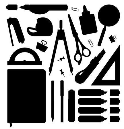 fournitures scolaires: outils de papeterie silhouettes set. Illustrations vecteur clip art, isolé, blanc