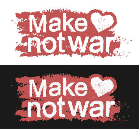 counterculture: Make love not war. Graffiti print with heart. Red color, Vector clip art isolated on white and black background