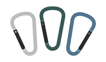 belay: Set of carabiner icons. Silver, green, blue. Hiking equipment. Vector clip art illustrations isolated on white