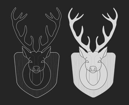 taxidermy: Hunting trophy. Taxidermy dummy deer head on wood shield. Chalk illustration isolated on blackboard Illustration