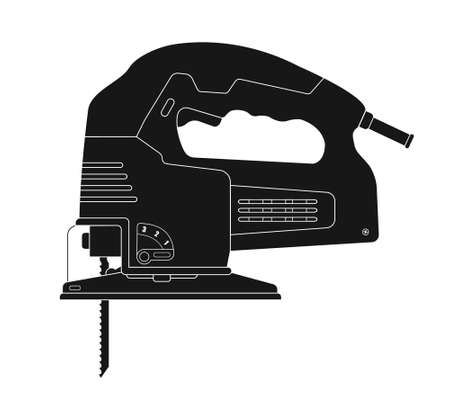 jig saw: Electric jigsaw tool. Vector clip art black silhouette illustration isolated on white