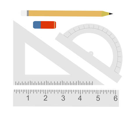 Education set. Pencil, eraser, protractor, triangle ruler, liner ruler. Vector clip art illustrations isolated on white