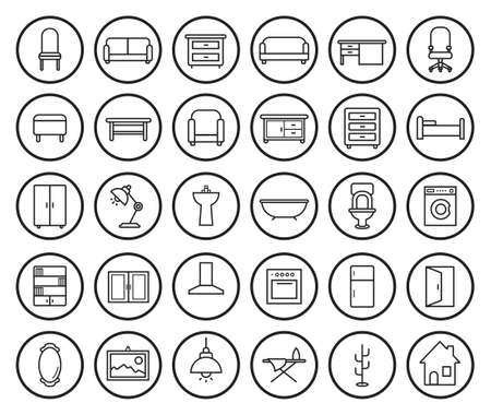 domestic bathroom: House furniture linear icons set. Vector clip art illustrations isolated on white Illustration