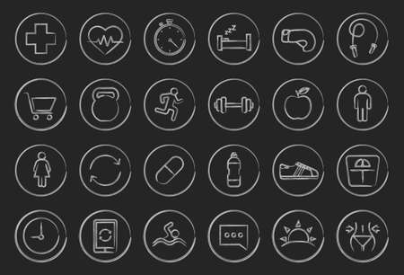 Fitness linear icons set. Vector clip art illustrations isolated on blackboard Vector