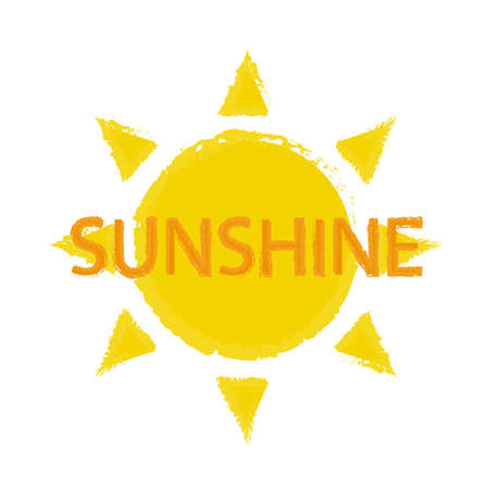 sunshine: Sun with sunshine sign vector logo isolated on white