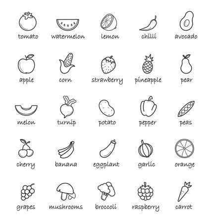 Line Art Vegetables Icons Set Linear Symbols With Names Isolated