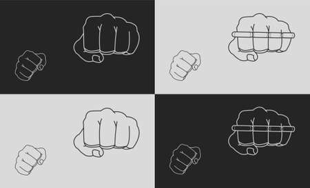 striking: Striking fists. Black and white illustrations Illustration