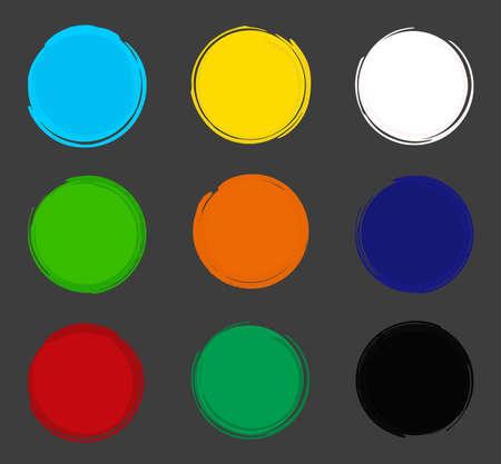 아크릴 페인트 배경 프레임 컬렉션입니다. 파란색, 노란색, 흰색, 녹색, 주황색, 빨간색, 검은 색. 일러스트