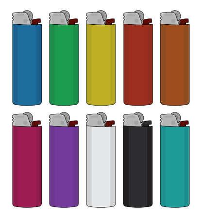 encendedores: Encendedores desechables establecen. Colores diferentes. Vectores