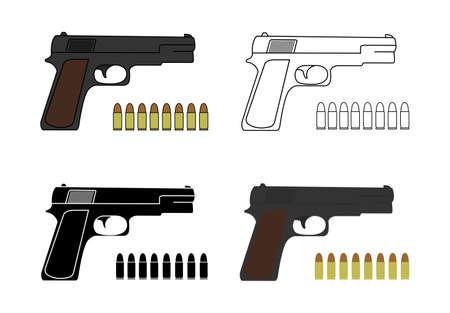 pistols: 9mm pistols set with bullets. Game resources. Color, contour, black.