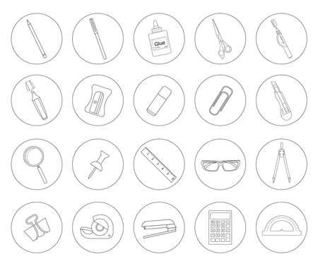 correttore: Strumenti di cancelleria. Icone lineari Ufficio set.