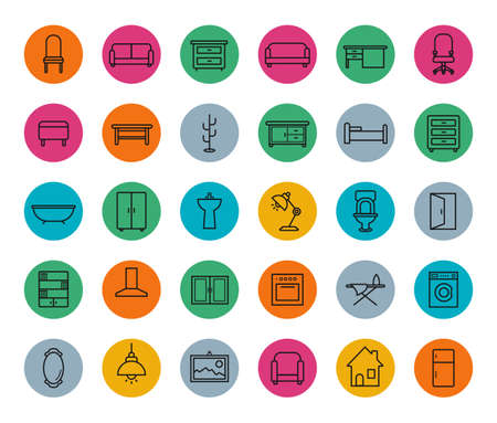 chest wall: House furniture colorful linear icons set. Line art symbols in circles isolated on white Illustration