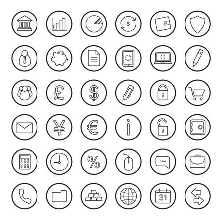 funded: Finance and banking linear icons set.