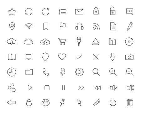 Digital linear icons set.