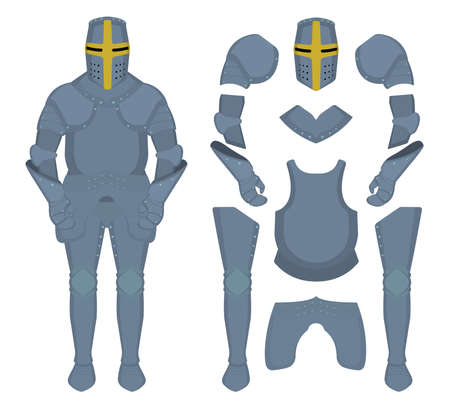templar: Medieval knight armor parts. Game resources. Vector clip art illustrations isolated on white Illustration