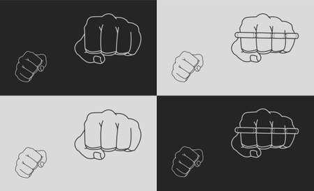 jab: Striking fists. Black and white illustrations Illustration