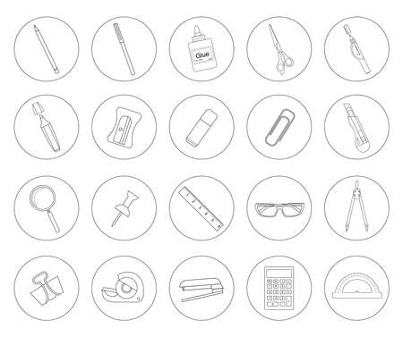 correttore: Stationery tools. Office linear icons set. Line art vector objects isolated on white Vettoriali