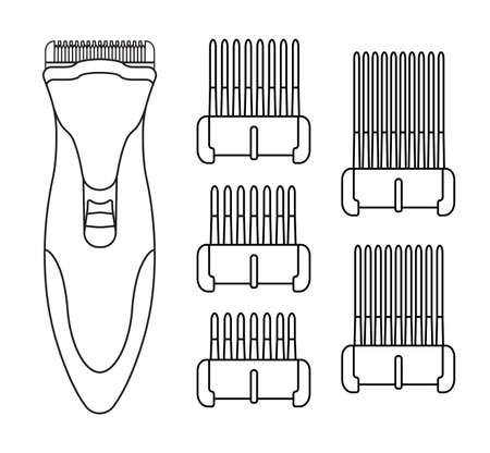 clipper: Hair clipper machine. Hairdresser professional tool. Vector line art illustration isolated on white