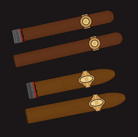 havana cuba: Burning cigars set. Vector clip art illustrations isolated on black