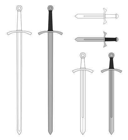 chivalry: Medieval sword set. Video game resources. Color, contour. Vector illustrations isolated on white