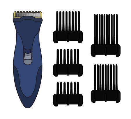 personal grooming: Hair clipper machine. Hairdresser professional tool. Vector color illustration isolated on white