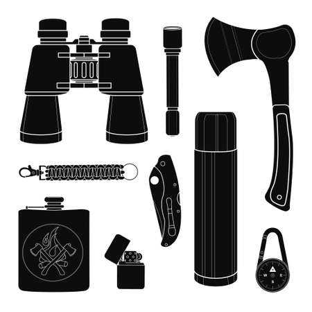 pocket knife: Camping equipment silhouettes set. Vector black clip art isolated on white