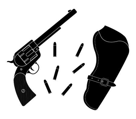 six shooter: Wild west wood handle revolver with holster and bullets. Vector black color silhouette clip art illustration isolated on white