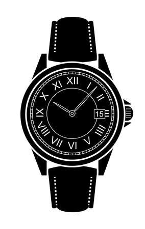 numeros romanos: Clásico mano de lujo de estilo de negocios mecánico relojes con números romanos. Negro ilustración vectorial de color aislado en blanco Vectores