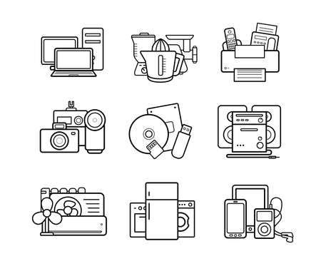 electronic device: Household appliances line art icons set. Electronics online store. Vector