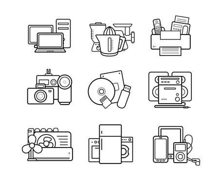 Household appliances line art icons set. Electronics online store. Vector