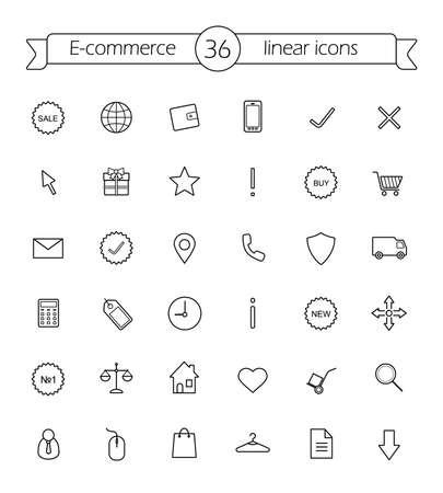 ecommerce icons: E-commerce. Shop linear icons set. Vector line art symbols Illustration