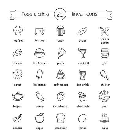 Eten en drinken lineaire pictogrammen die met borden. Vector lijn kunst illustraties Stock Illustratie