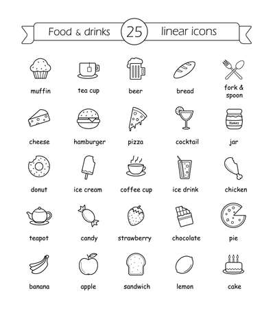 Food and drinks linear icons set with signs. Vector line art illustrations Illusztráció