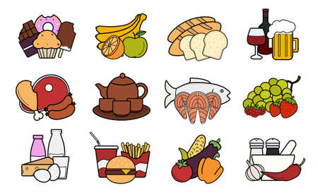 Food and drinks  icons set. Vector gastronomy color illustrations