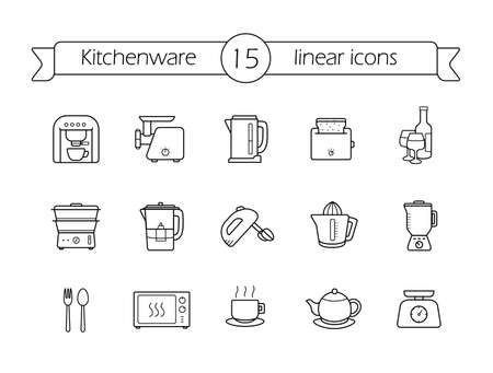 water filter: Kitchenware linear icons set. Line art kitchen equipment. Vector