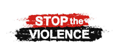 violencia intrafamiliar: Alto a la violencia, pintura, grunge, protesta, signo graffiti. Vector Vectores