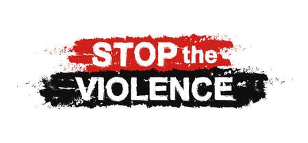 Zatrzymaj przemoc, farby, grunge, graffiti, znak protestu. Wektor