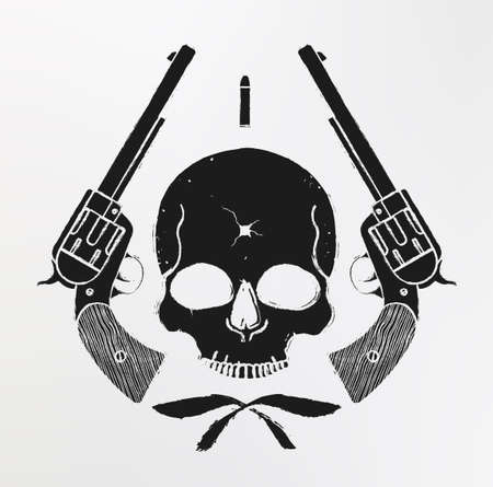 Wild west skull with bullet hole and 2 pistols grunge emblem. Vector