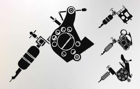 machines: Grunge tattoo machines prints logo set. Vector clip art Illustration