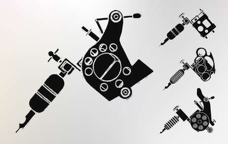 Grunge tattoo machines prints logo set. Vector clip art Illustration