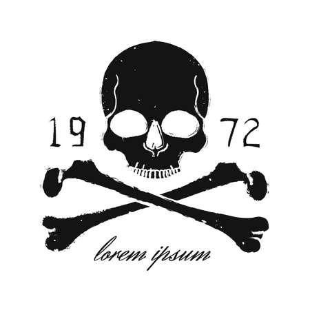 tete de mort: Crâne et os croisés millésime emblème noir. Imprimer vecteur grunge illustration