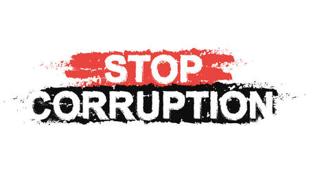Stop corruption paint ,grunge, protest, graffiti sign. Vector Иллюстрация