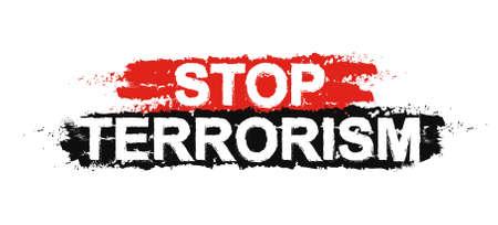 insurrection: Stop terrorism paint ,grunge, protest, graffiti sign. Vector