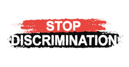 sex discrimination: Stop discrimination paint ,grunge, protest, graffiti sign. Vector Illustration